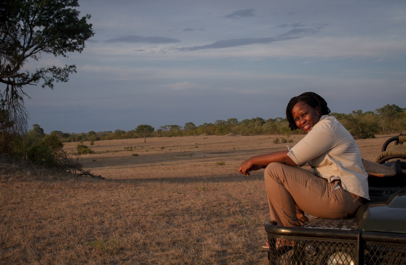 Obakeng Kgadile admiring the gorgeous view at MalaMala